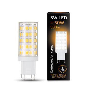 Лампа светодиодная Gauss G9 5W 2700К прозрачная 107309105