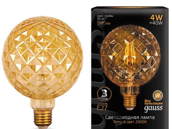 Лампа светодиодная филаментная Gauss E27 4W 2400K золотая 105802004