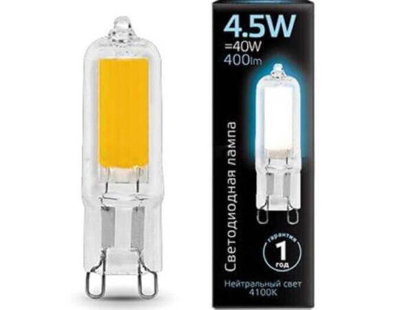 Лампа светодиодная Gauss G9 4.5W 4100K прозрачная 107809204