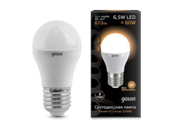 Лампа светодиодная Gauss E27 6.5W 2700K матовая 105102107
