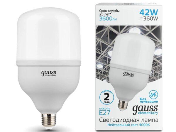 Лампа светодиодная Gauss E27 42W 4000K матовая 63224