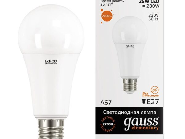 Лампа светодиодная Gauss E27 25W 3000K матовая 73215