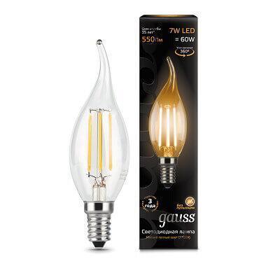 Лампа светодиодная филаментная Gauss E14 7W 2700К прозрачная 104801107