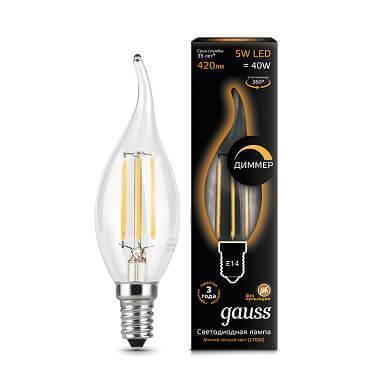 Лампа светодиодная диммируемая Gauss филаментная E14 5W 2700К прозрачная 104801105-D