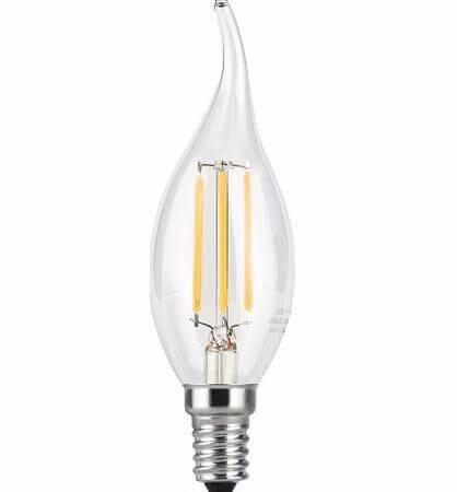 Лампа светодиодная филаментная Gauss E14 7W 4100К прозрачная 104801207