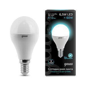 Лампа светодиодная Gauss E14 6.5W 4100K матовая 105101207