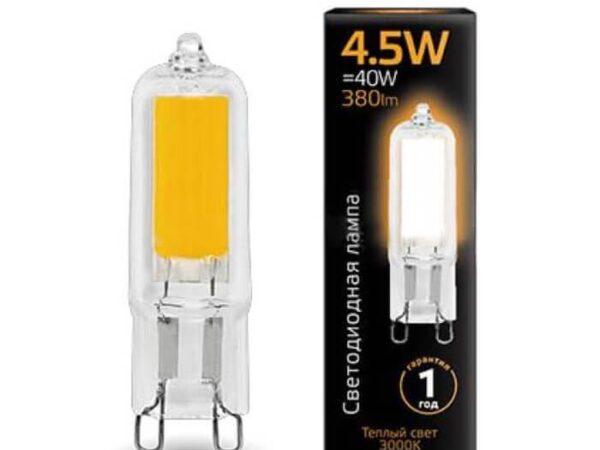 Лампа светодиодная Gauss G9 4.5W 3000K прозрачная 107809104