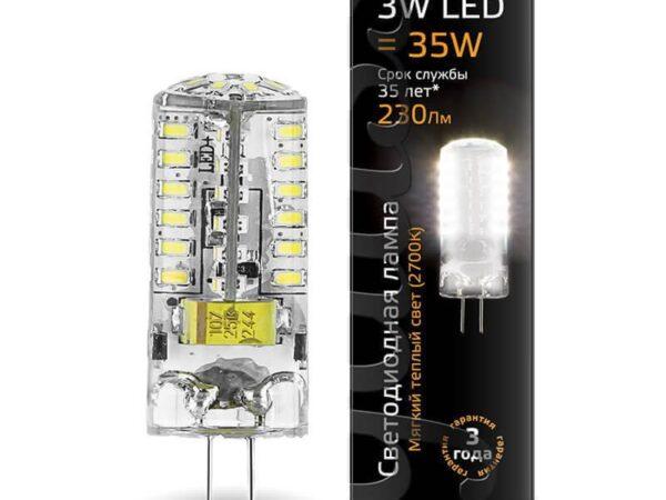 Лампа светодиодная Gauss G4 3W 2700K прозрачная 207707103