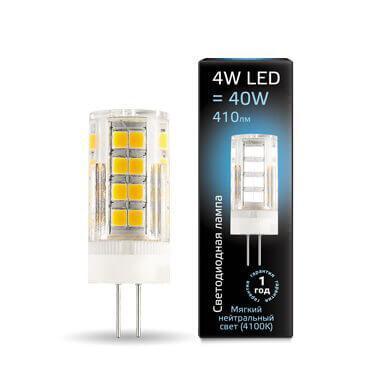 Лампа светодиодная Gauss G4 4W 4100К прозрачная 107307204