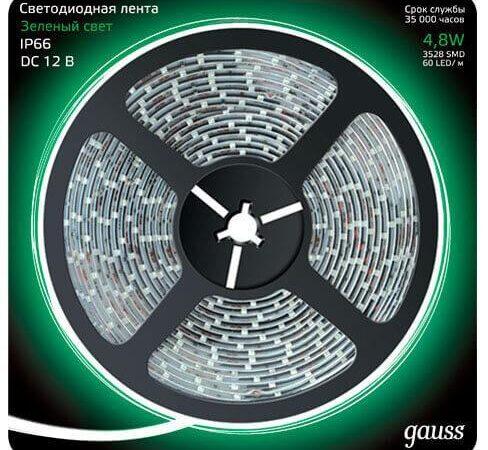 Светодиодная влагозащищенная лента Gauss 4,8W/m 60LED/m 2835SMD зеленый 5M 311000605