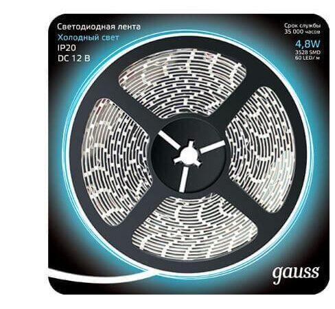 Светодиодная лента Gauss 4,8W/m 60LED/m 2835SMD холодный белый 5M 312000305