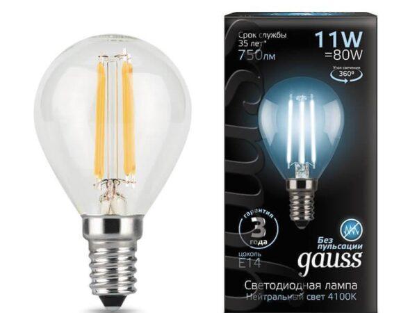 Лампа светодиодная филаментная Gauss E14 11W 4100К прозрачная 105801211