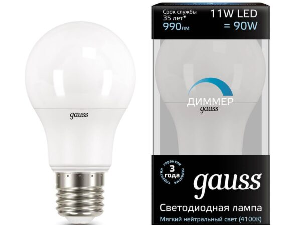 Лампа светодиодная диммируемая Gauss E27 11W 4100K матовая 102502211-D