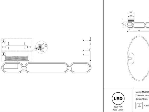 Потолочный светодиодный светильник Maytoni Chain MOD017CL-L70N