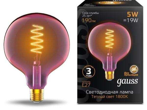 Лампа светодиодная диммируемая филаментная Gauss E27 5W 1800K розовая 1011802105