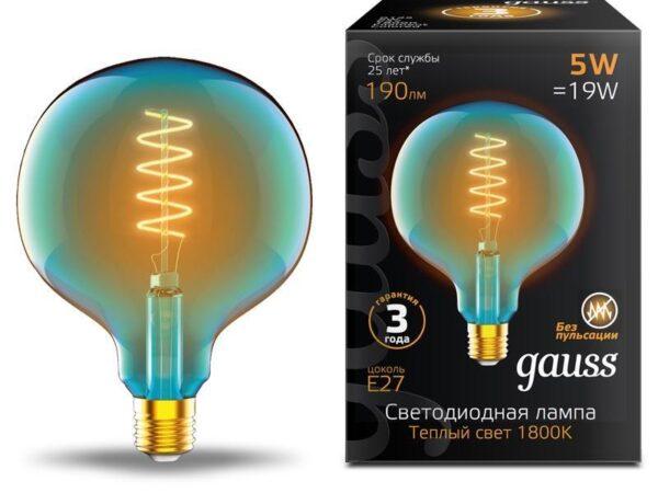 Лампа светодиодная диммируемая филаментная Gauss E27 5W 1800K синяя 1013802105