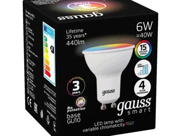 Лампа светодиодная диммируемая Gauss GU10 6W RGBW матовая 101106406