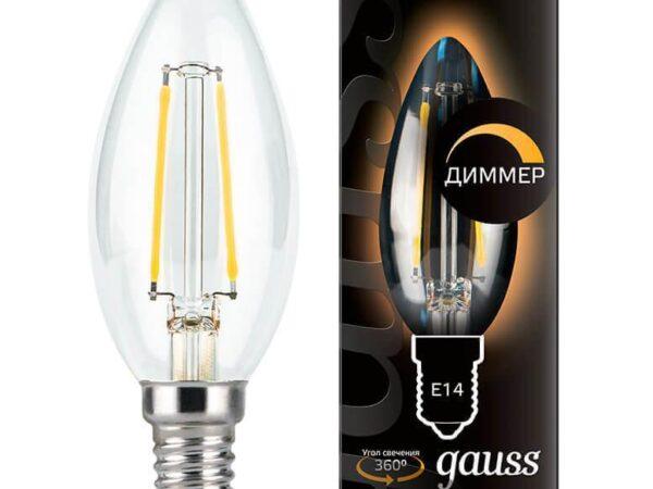 Лампа светодиодная диммируемая Gauss филаментная E14 5W 2700К прозрачная 103801105-D