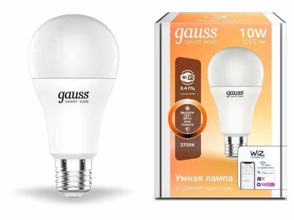 Лампа светодиодная диммируемая Gauss E27 10W 2700K матовая 1070112