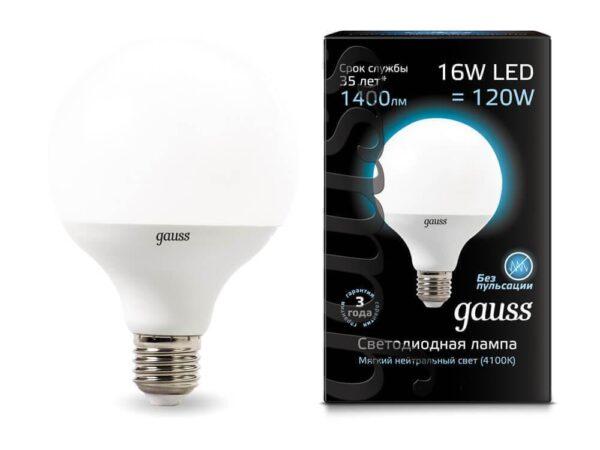 Лампа светодиодная Gauss E27 16W 4100K матовая 105102216