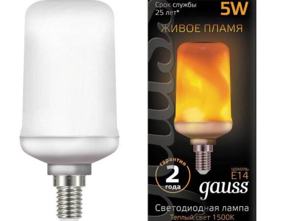 Лампа светодиодная Gauss E14 5W 1500K матовая 157401105
