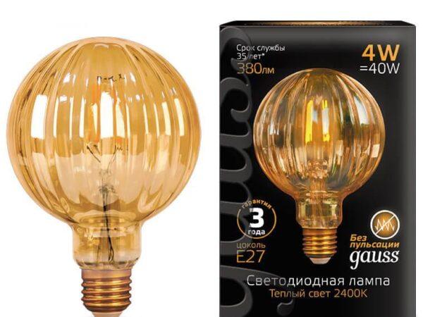 Лампа светодиодная филаментная Gauss E27 4W 2400K золотая 147802004