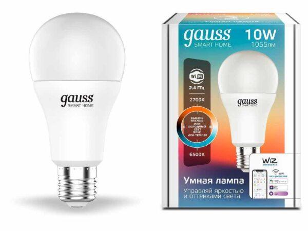 Лампа светодиодная диммируемая Gauss E27 10W 2700-6500K матовая 1080112