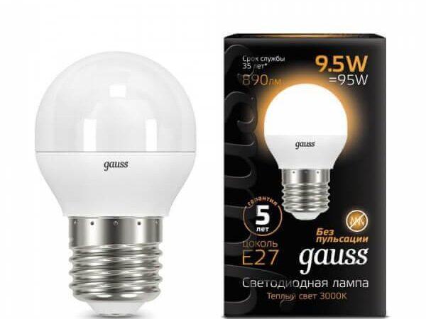 Лампа светодиодная Gauss E27 9.5W 3000K матовая 105102110