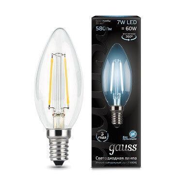 Лампа светодиодная филаментная Gauss E14 7W 4100К прозрачная 103801207
