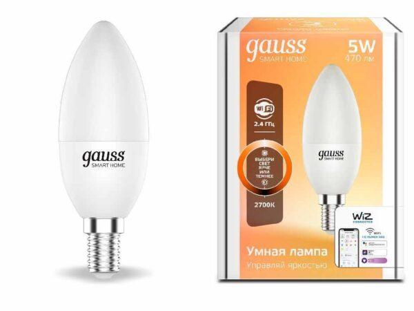 Лампа светодиодная диммируемая Gauss E14 5W 2700K матовая 1100112