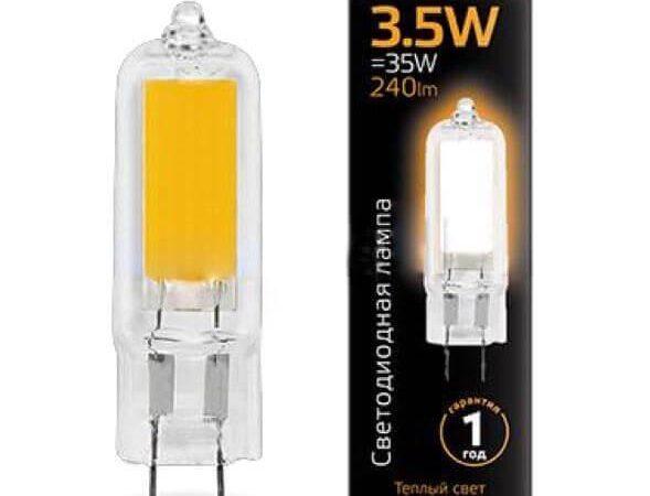 Лампа светодиодная Gauss G4 3.5W 3000K прозрачная 107807103
