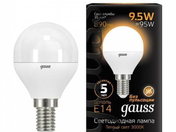 Лампа светодиодная Gauss E14 9.5W 3000K матовая 105101110