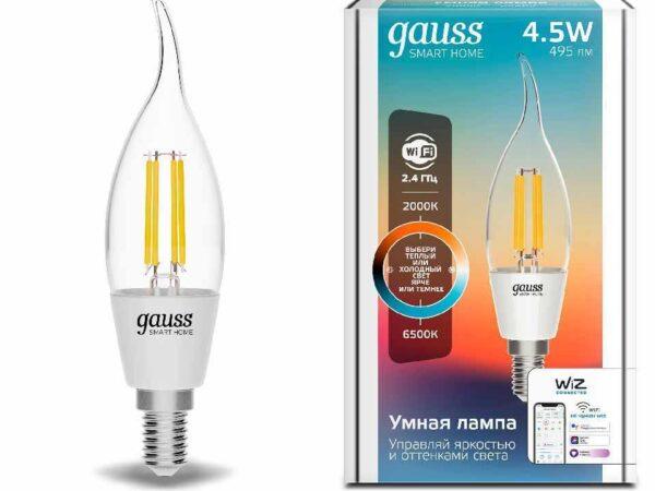 Лампа светодиодная диммируемая филаментная Gauss E14 4,5W 2000-6500K прозрачная 1280112