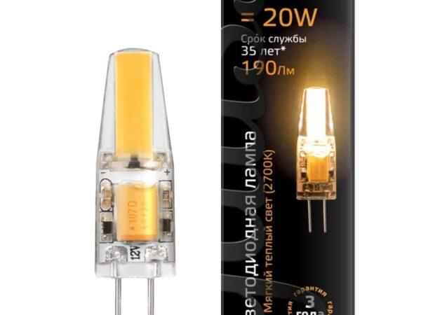 Лампа светодиодная Gauss G4 2W 2700K прозрачная 107707102