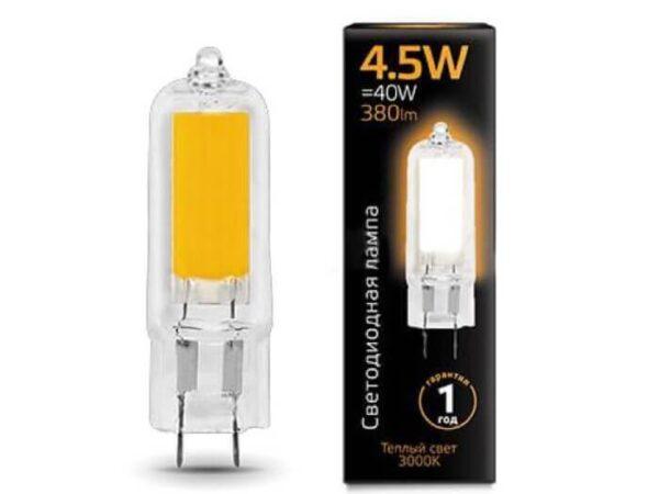 Лампа светодиодная Gauss G4 4.5W 3000K прозрачная 107807104