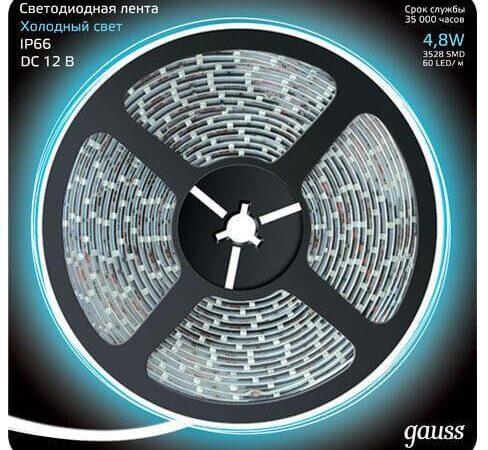 Светодиодная влагозащищенная лента Gauss 4,8W/m 60LED/m 2835SMD холодный белый 5M 311000305