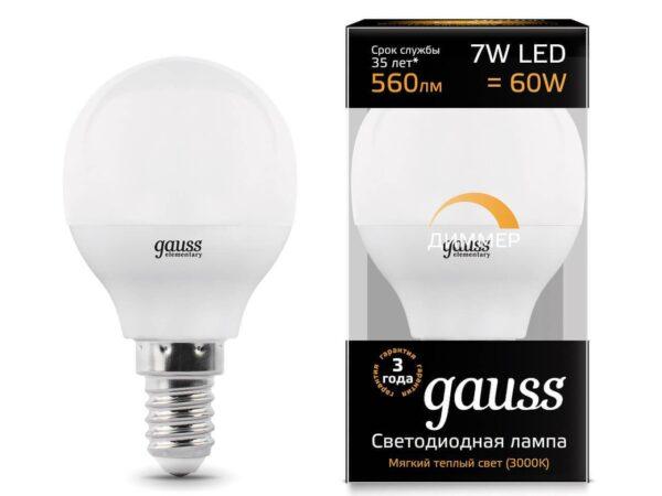 Лампа светодиодная диммируемая Gauss E14 7W 3000K матовая 105101107-D
