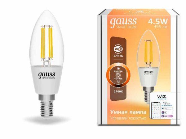 Лампа светодиодная диммируемая филаментная Gauss E14 4,5W 2700K прозрачная 1230112