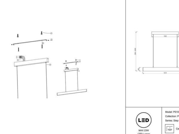 Подвесной светодиодный светильник Maytoni Step P010PL-L23B