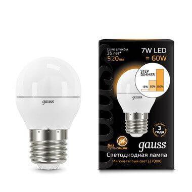 Лампа светодиодная диммируемая Gauss E27 7W 3000K матовая 105102107-S