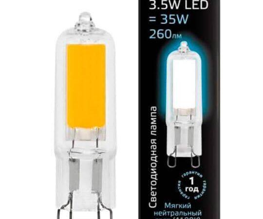 Лампа светодиодная Gauss G9 3.5W 4100K прозрачная 107809203