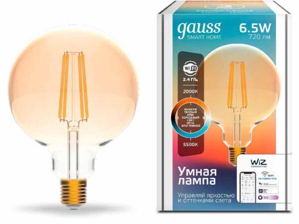 Лампа светодиодная диммируемая филаментная Gauss E27 6,5W 2000-5500K золотистая 1340112