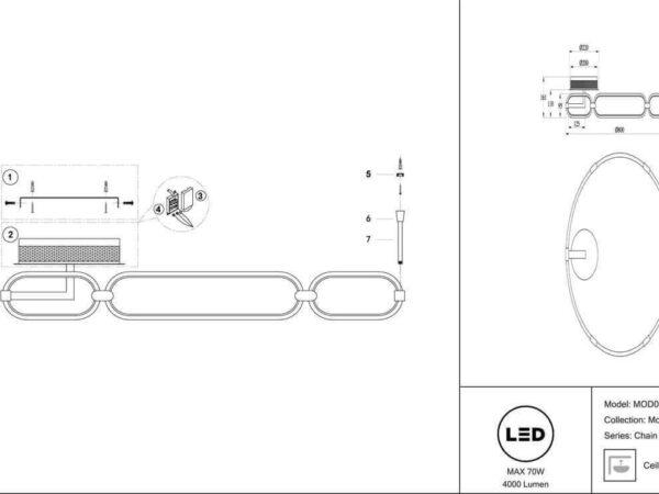 Потолочный светодиодный светильник Maytoni Chain MOD017CL-L70MG