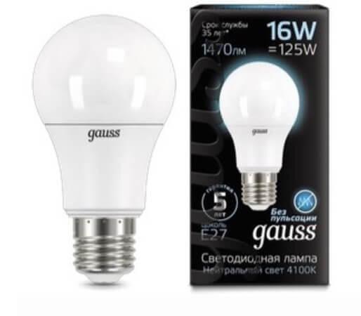 Лампа светодиодная Gauss E27 16W 4100K матовая 102502216
