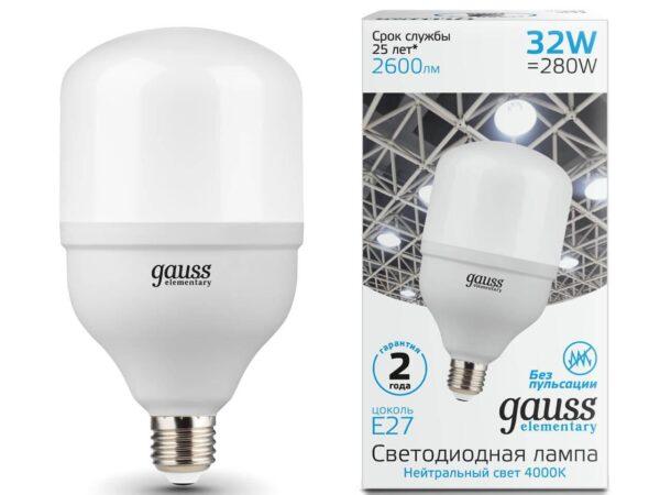 Лампа светодиодная Gauss E27 32W 4000K матовая 63223