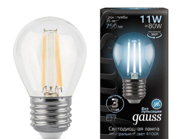 Лампа светодиодная филаментная Gauss E27 11W 4100K прозрачная 105802211
