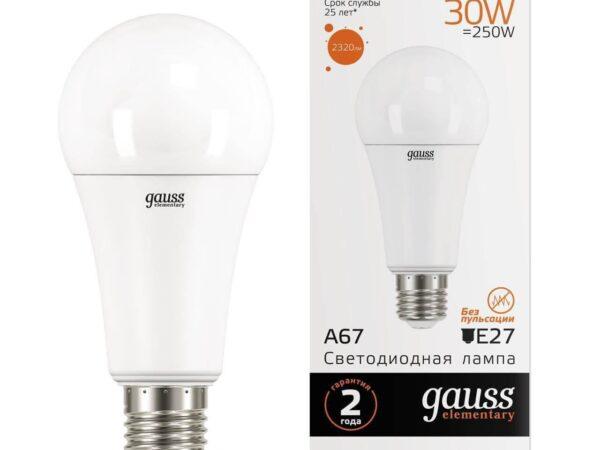 Лампа светодиодная Gauss E27 35W 3000K матовая 70215