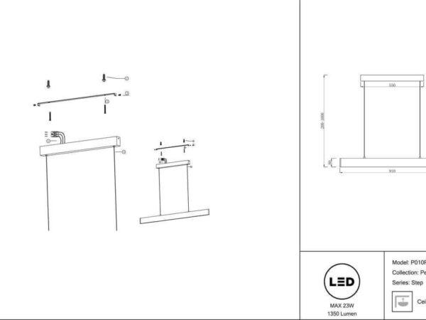 Подвесной светодиодный светильник Maytoni Step P010PL-L23W