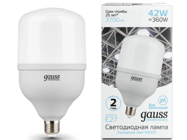 Лампа светодиодная Gauss E27 42W 6500K матовая 63234