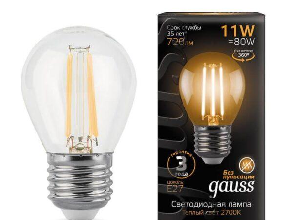Лампа светодиодная филаментная Gauss E27 11W 2700K прозрачная 105802111